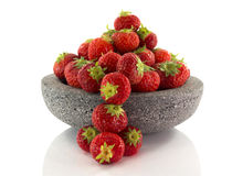 Plate with red strawberries Royalty Free Stock Photography