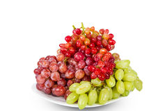 Plate of red and white grapes Royalty Free Stock Image