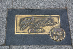 Plate with relief signature of Polish pianist Rafal Blechacz Royalty Free Stock Photo