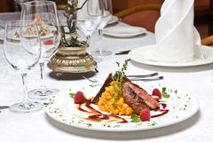 Plate at restaurant Royalty Free Stock Photo