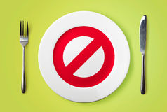 Plate with restricted red sign Stock Photo