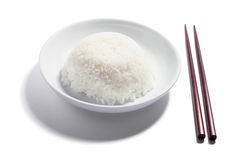 Plate of Rice and Chopsticks Royalty Free Stock Photo