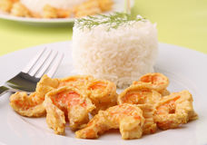 Plate of rice with curry shrimp Royalty Free Stock Photos