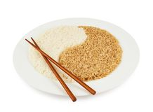 Plate of rice forming a yin yang sign Royalty Free Stock Photos