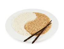 Plate of rice forming a yin yang sign Stock Photography