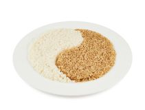 Plate of rice forming a yin yang sign Stock Images