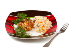 Plate with rice and fried steak. Decorated with greenery royalty free stock image