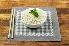 Plate of rice served Stock Photos