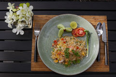Plate of rice with shirimp Stock Photography