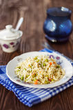 A plate of rice with vegetables, selective focus Royalty Free Stock Image