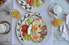 Plate with rich breakfast Royalty Free Stock Image