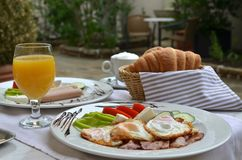Rich breakfast set stock images