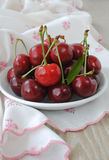 Plate with ripe cherries Royalty Free Stock Photography