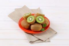 Plate of ripe kiwi Royalty Free Stock Photo