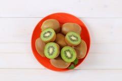 Plate of ripe kiwi Stock Photo