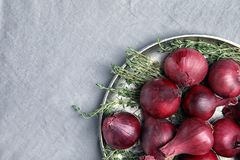 Plate with ripe red onions on fabri. C, top view stock photos