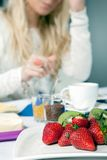 Plate of ripe strawberries for breakfast Royalty Free Stock Image