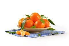 Plate of ripe tangerines Stock Image