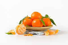 Plate of ripe tangerines Stock Photos