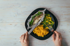 Plate with rise fish and vegetables stock images