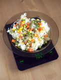Plate with rise and vegetables on kitchen scales closeup Royalty Free Stock Image