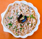 Plate with Risotto al mare Stock Photo