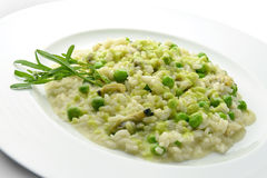 Plate of Risotto with Clams and Peas 1. Plate of Risotto with Clams and Peas in white plate Royalty Free Stock Photo