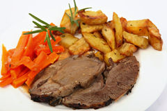 Plate of roast lamb Royalty Free Stock Image