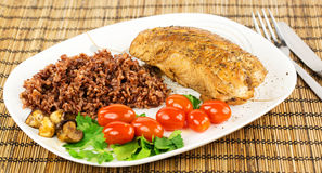 Plate with roast turkey with brown and red rice and whole cherry Stock Image