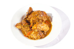 Plate of roasted chicken in barbecue sauce Stock Image