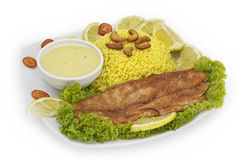 Plate with roasted fish, wild rice Stock Images