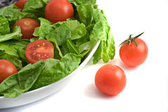 Plate with salad. Of tomatoes and lettuce Stock Photos