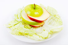 Plate with salad and apples Royalty Free Stock Photo