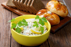 Plate with salad and bread rolls Royalty Free Stock Photos