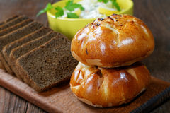 Plate with salad and bread rolls Royalty Free Stock Photography