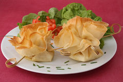 Plate of salad and filo Stock Photo