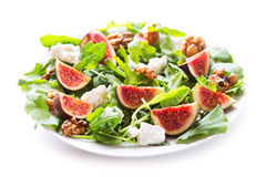 Plate of salad with fresh figs Stock Image