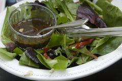 Plate of salad and salad dressing Stock Photography