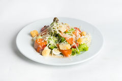 Plate of salad on white background.  royalty free stock photography