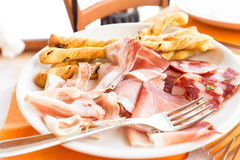 Plate of salami and cheese Royalty Free Stock Photo