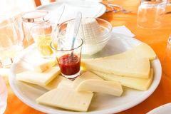 Plate of salami and cheese Stock Photography