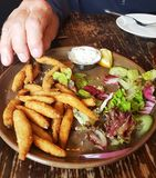 A plate of salas and whitebait Stock Photo