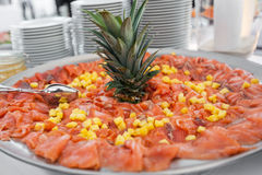 Plate of salmon with ananas Royalty Free Stock Images