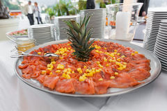 Plate of salmon with ananas Royalty Free Stock Photography