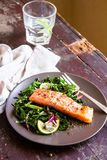Plate of salmon fillet steak roasted with spices served with fresh salad with lime fruit and peppercorns on a wooden table, select royalty free stock photo