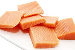 A plate of salmon meat Royalty Free Stock Photos