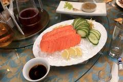 Plate with salmon sashimi Stock Photo
