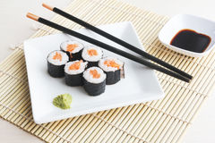 Plate of salmon sushi maki Royalty Free Stock Photos