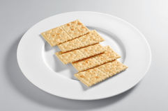 Plate with salty crackers Royalty Free Stock Image