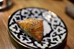 Plate with samsa Stock Photography